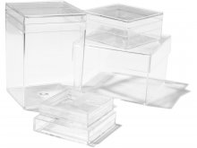 Plastic boxes, transparent, square