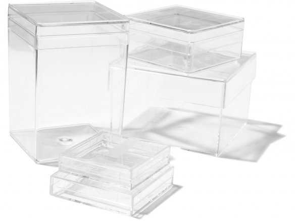 Plastic boxes, transparent, rectangular