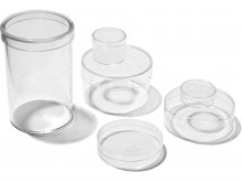 Plastic containers, transparent, round