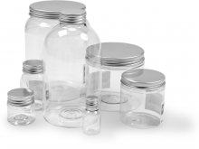 Plastic containers, transparent, with alu screw top