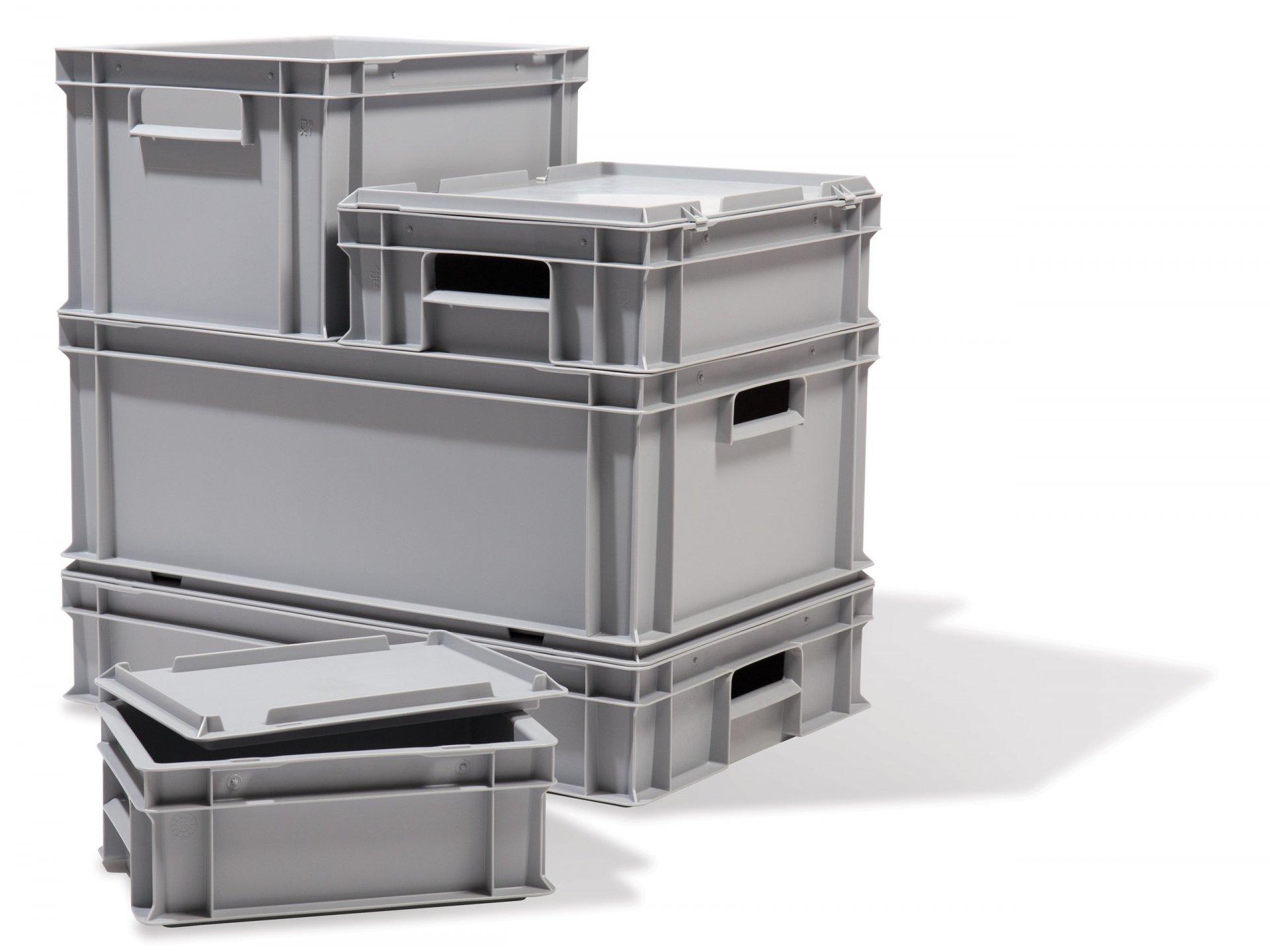 stapelkiste grau verschlie bar kaufen modulor. Black Bedroom Furniture Sets. Home Design Ideas