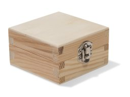 Wooden box, square, hinged lid with fastener