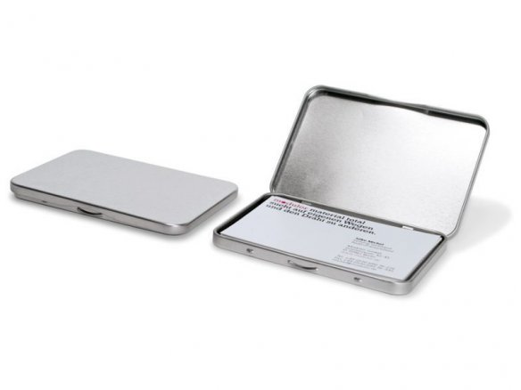 Business card case, tin, silver
