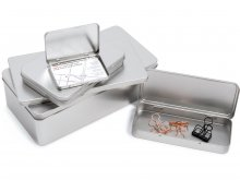 Rectangular tinplate container, silver
