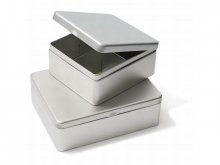 Tinplate container with partitions, silver