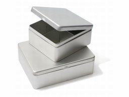 Weißblechdose mit Unterteilungen, silber