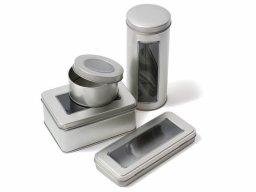 Contenitore di latta argento, finestra PVC trasp.
