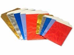 Bolsa plana de papel metalizado de color, gofrada