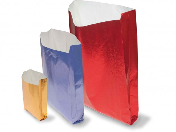 Folding bag, metallic paper, coloured, embossed
