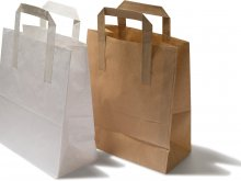 Paper carrier bag with flat handles