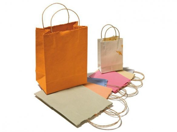 Gift bags/tote bags made of Khadi paper, coloured