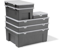 PP assortment box, grey, rectangular