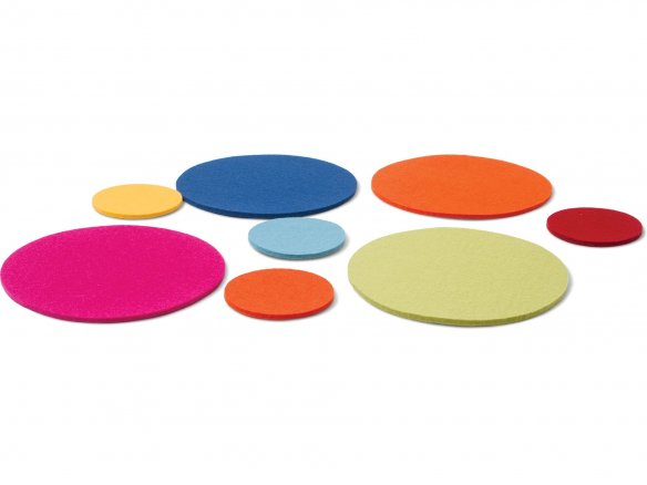 Felt coasters, round, coloured