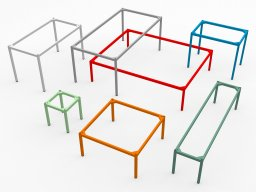 Modulor M table system, coloured