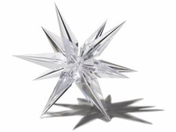 Plastic star, transparent, three-dimensional